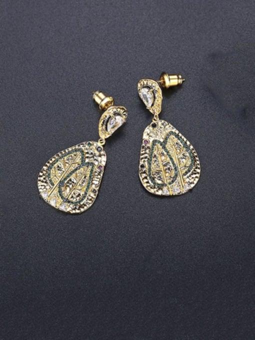 BLING SU Brass Cubic Zirconia Geometric Vintage Drop Earring 0