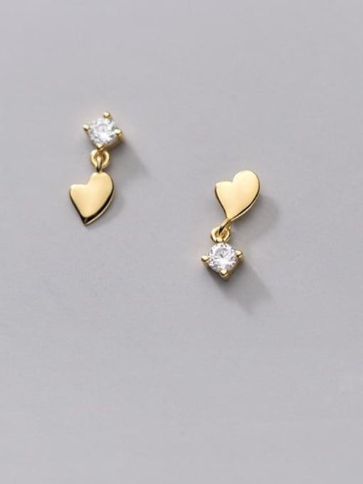 Rosh 925 Sterling Silver Cubic Zirconia Asymmetry Heart Minimalist Stud Earring 1