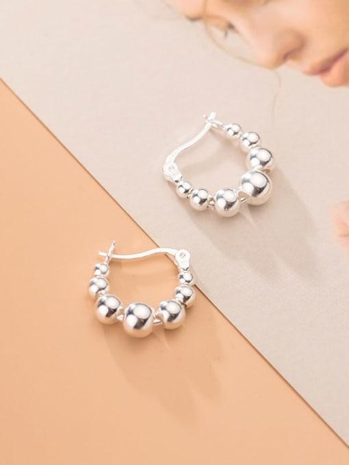 Rosh 925 Sterling Silver Bead Round Minimalist Huggie Earring 3