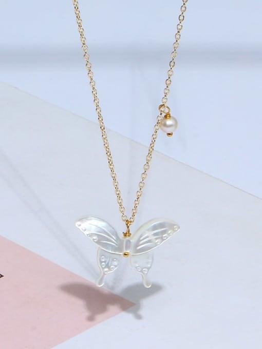 RAIN Brass Shell  Minimalist ButterflyEarring and Necklace Set 4