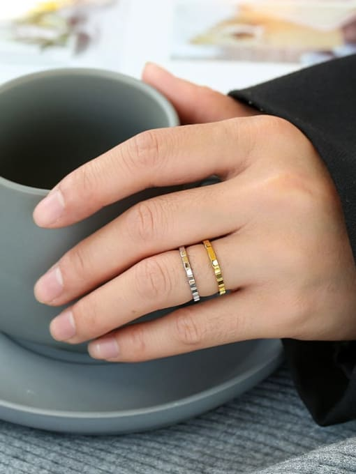 CHARME Brass Smooth  Geometric Vintage Band Ring 2