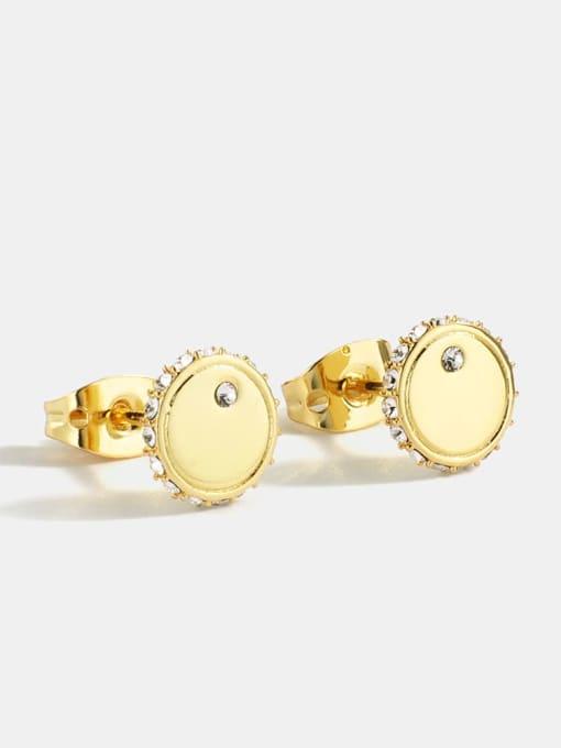 CHARME Brass Cubic Zirconia Round Minimalist Stud Earring 2