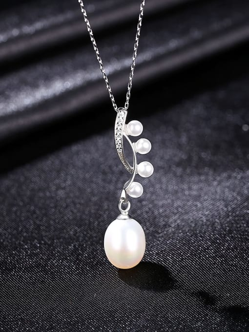 CCUI 925 Sterling Silver Freshwater Pearl Water Drop Minimalist Necklace 3