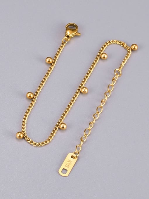 A TEEM Titanium Steel Bead Irregular Minimalist Link Bracelet 2