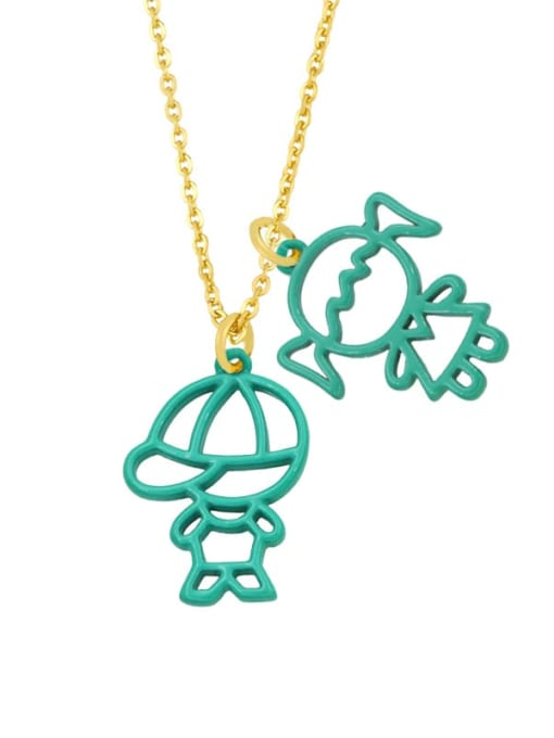 turquoise Brass Enamel Cute Angel  Pendant Necklace