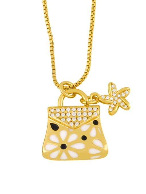 white Brass Rhinestone Enamel Geometric Minimalist Necklace