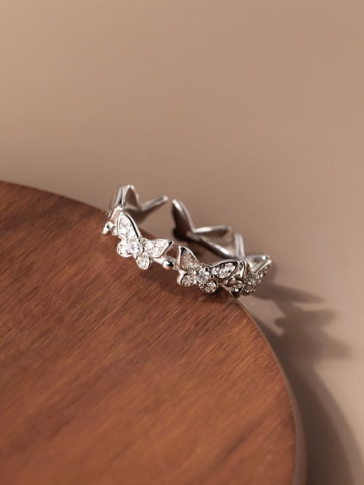 Rosh 925 Sterling Silver Cubic Zirconia Butterfly Minimalist Band Ring 2