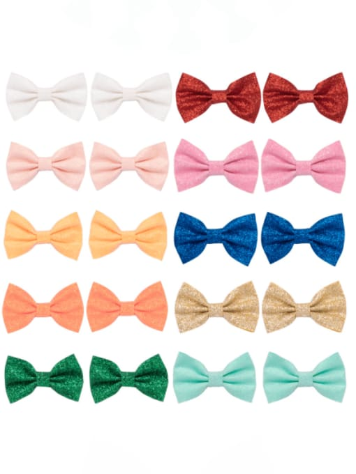 11 a pack of 20 small hairpins Alloy Fabric Cute Bowknot  Multi Color Hair Barrette