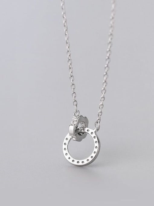 Rosh 925 Sterling Silver Rhinestone Geometric Minimalist Necklace 3