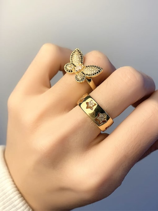 CC Brass Cubic Zirconia Butterfly Vintage Band Ring 3