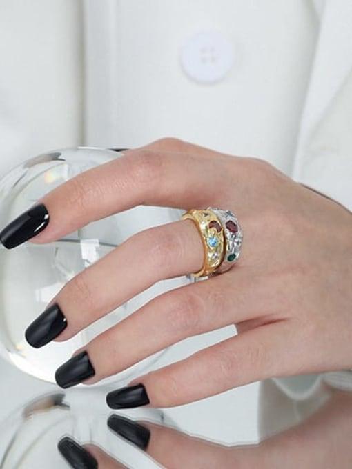 DAKA 925 Sterling Silver Glass Stone Irregular Vintage Band Ring 1