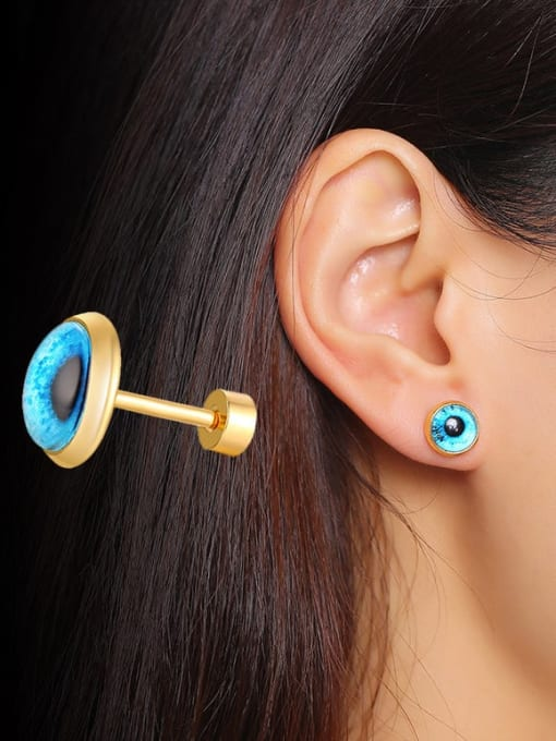 CONG Titanium Steel Turquoise Round Vintage Stud Earring 1