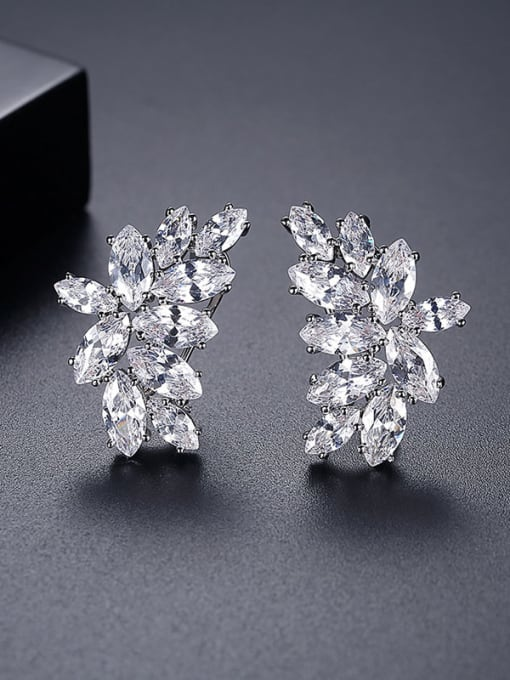 platinum Copper Cubic Zirconia Flower Luxury Cluster Earring