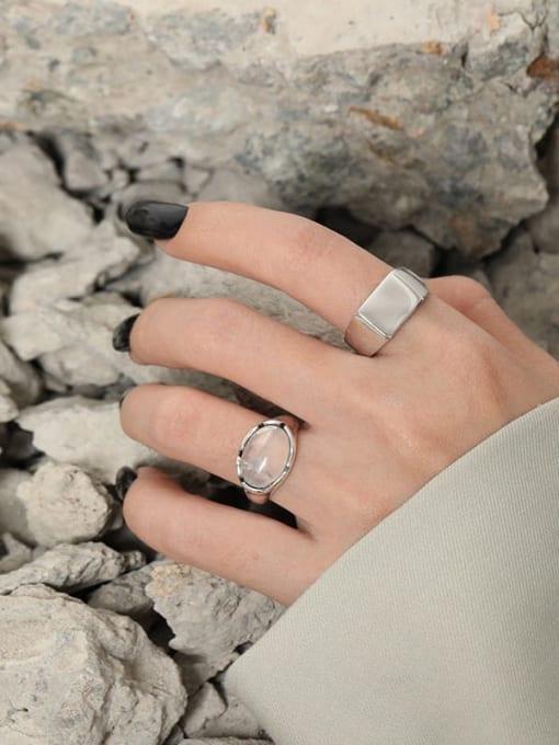 DAKA 925 Sterling Silver Crystal Irregular Vintage Band Ring 3