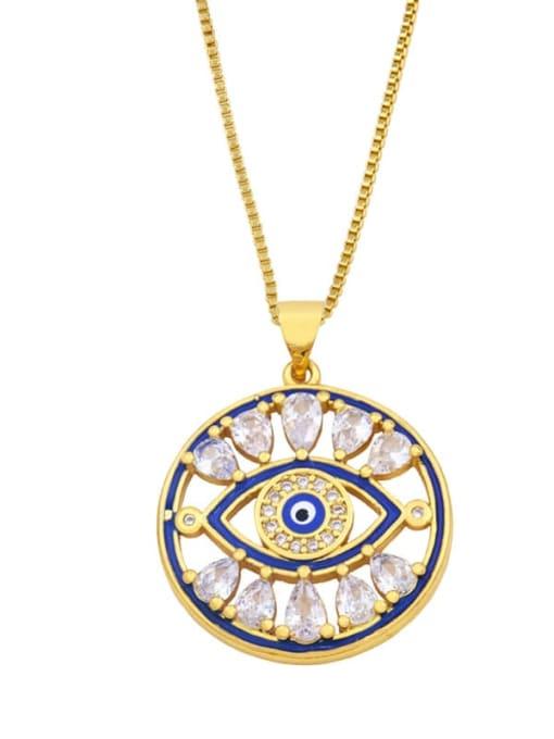 B Brass Cubic Zirconia Enamel Evil Eye Vintage Necklace
