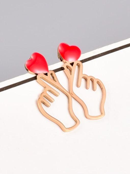A TEEM Titanium Steel Enamel Hand Of Gold Minimalist Stud Earring 0