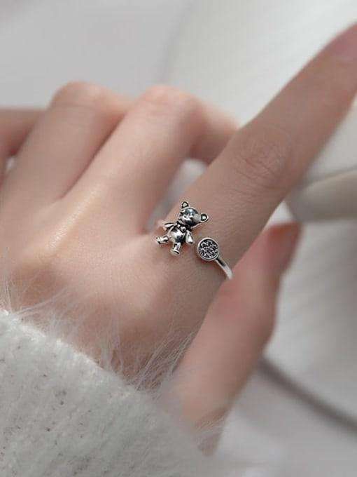 Rosh 925 Sterling Silver Rhinestone Bear Cute Band Ring 1