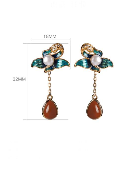 DEER 925 Sterling Silver Agate Enamel Flower Vintage Drop Earring 3