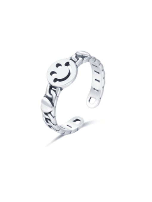 Boomer Cat 925 Sterling Silver Smiley Minimalist Band Ring 0