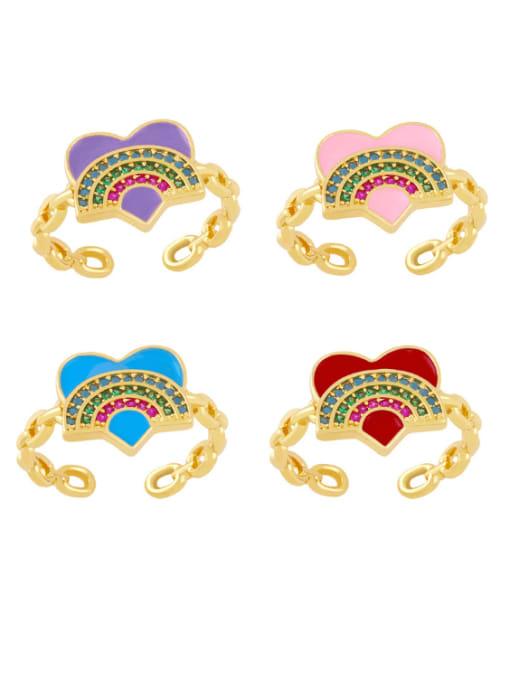 CC Brass Enamel Rainbow Vintage Band Ring 0
