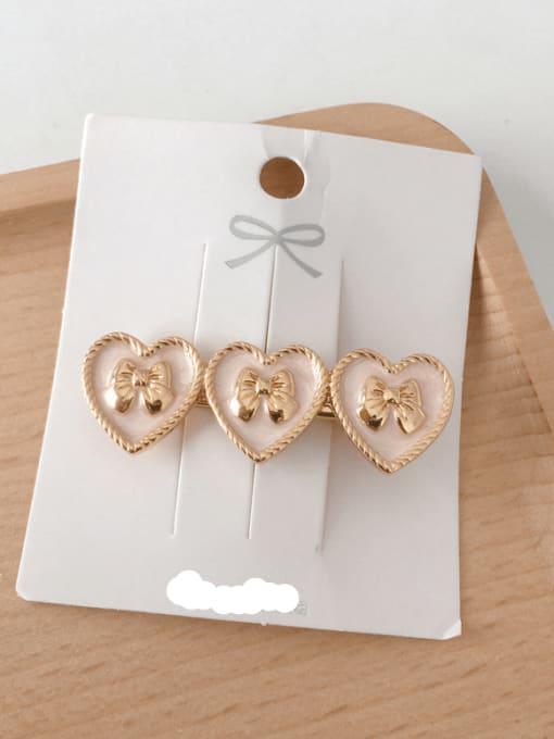 Heart pink Alloy Enamel Minimalist Heart  Round Bow-Knot Hair Barrette