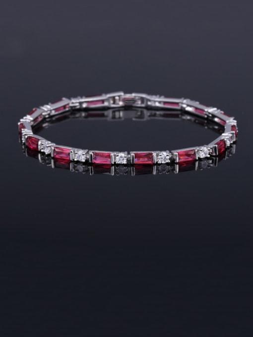 Meihong 17.5+ 2.2cm Brass Cubic Zirconia Geometric Classic Bracelet