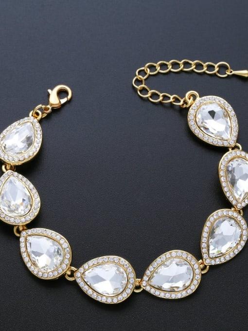 golden Brass Glass Stone Water Drop Luxury Bracelet