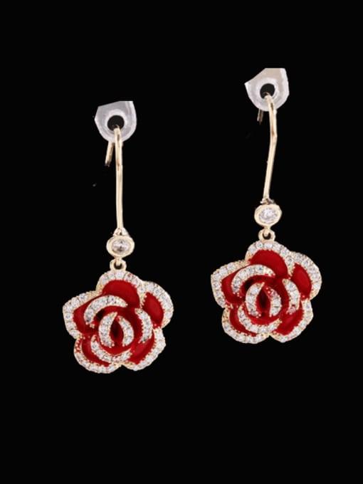 Red rose Brass Cubic Zirconia Flower Vintage Hook Earring