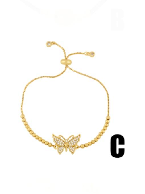 C Brass Cubic Zirconia Butterfly Minimalist Link Bracelet