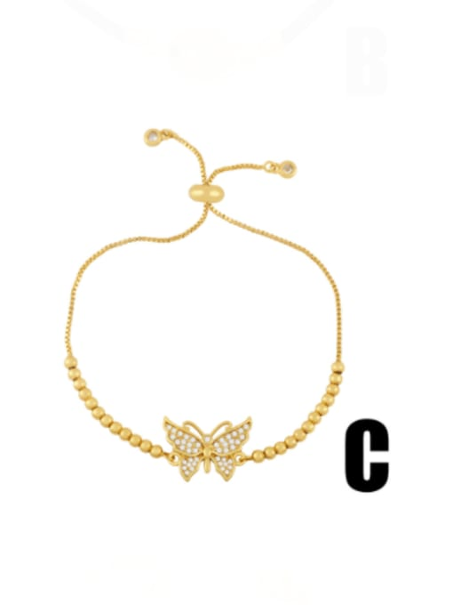 CC Brass Cubic Zirconia Butterfly Minimalist Link Bracelet 2