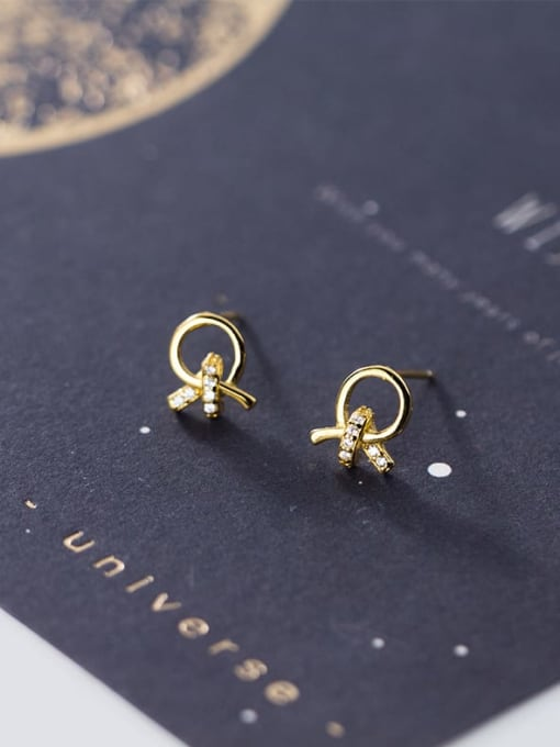 Rosh 925 Sterling Silver Rhinestone Bowknot Minimalist Stud Earring 0
