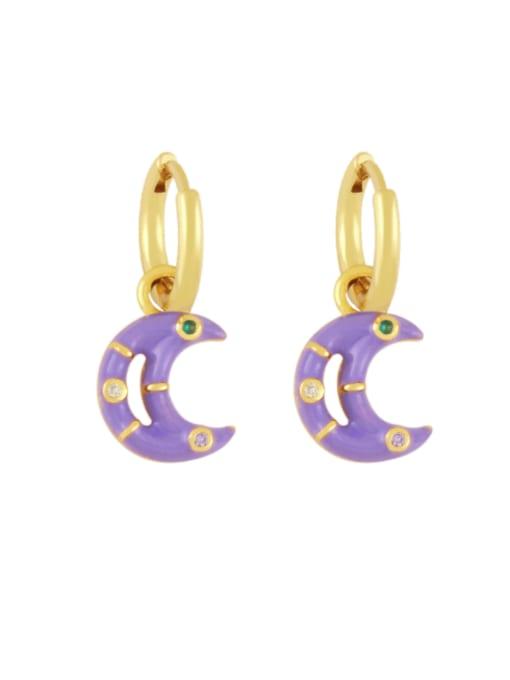 purple Brass Enamel Moon Hip Hop Huggie Earring