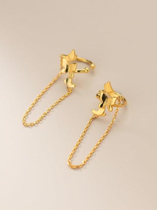 gold 925 Sterling Silver Tassel Minimalist Threader Earring