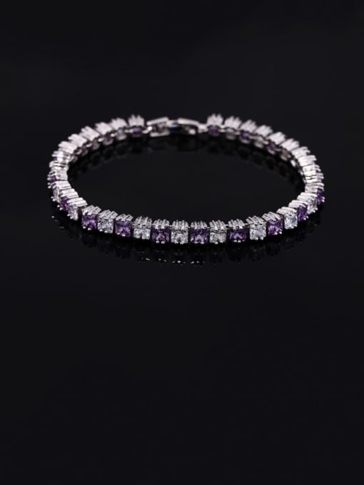 purple18.2cm Brass Cubic Zirconia Geometric Classic Bracelet
