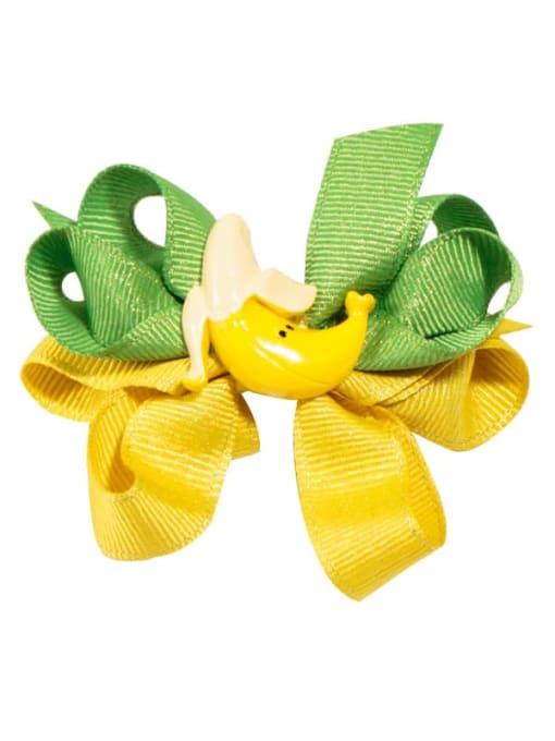 5 yellow banana Alloy  Fabric Cute Bowknot Multi Color Hair Barrette