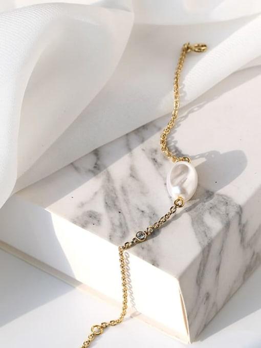 CHARME Brass Freshwater Pearl Irregular Minimalist Link Bracelet 2