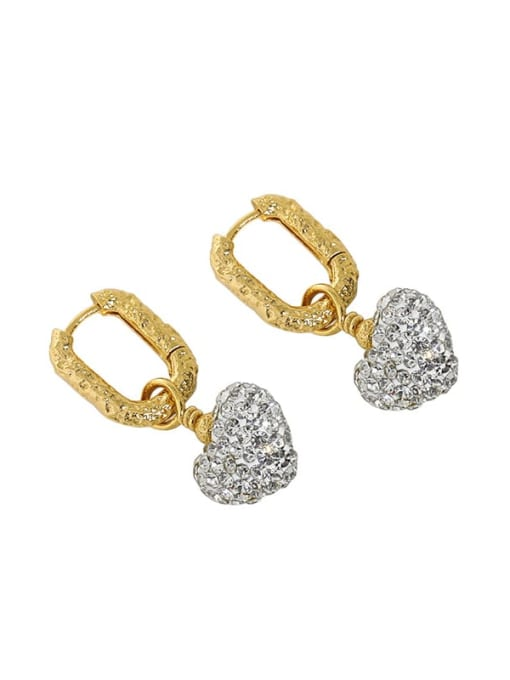 18K Gold 925 Sterling Silver Cubic Zirconia Heart Vintage Huggie Earring