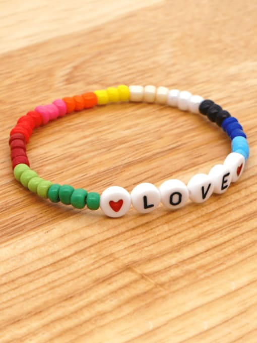 Roxi Stainless steel MGB  Bead Multi Color Letter Bohemia Stretch Bracelet 3