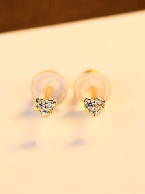 18K gold 925 Sterling Silver Cubic Zirconia Heart Minimalist Stud Earring