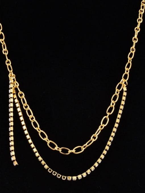 A TEEM Titanium Steel Cubic Zirconia Geometric Minimalist Necklace 1