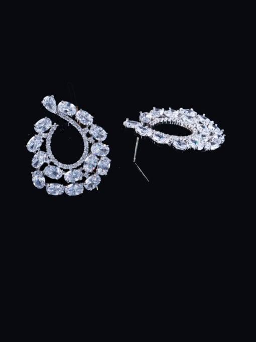 L.WIN Brass Cubic Zirconia Flower Luxury Cluster Earring 0