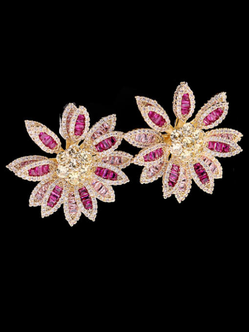 Rose red + yellow Brass Cubic Zirconia Flower Luxury Stud Earring