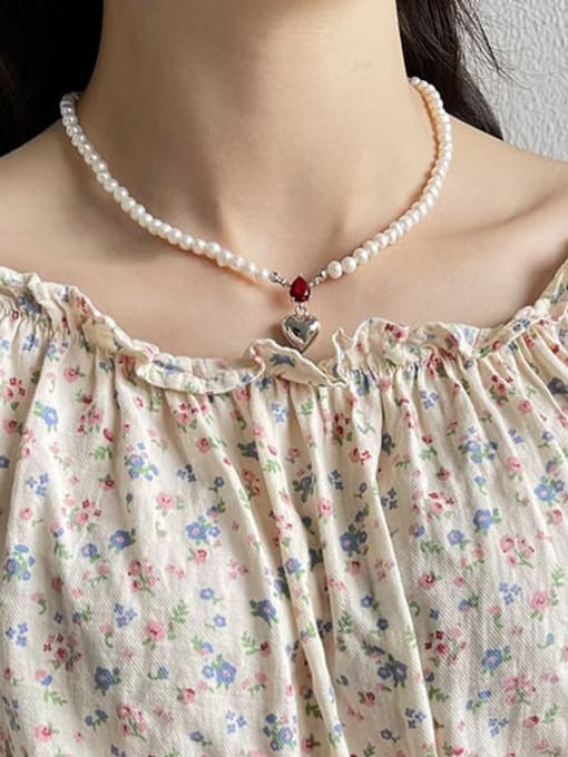 Boomer Cat 925 Sterling Silver Imitation Pearl Irregular Vintage Necklace 3