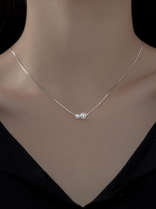 Rosh 925 Sterling Silver Imitation Pearl Minimalist Necklace 1