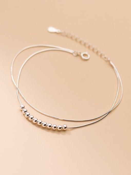 Rosh 925 Sterling Silver Bead Round Minimalist Strand Wire Bracelet 1