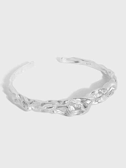 DAKA 925 Sterling Silver Irregular Minimalist Cuff Bangle 0