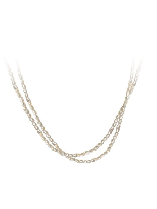 Rosh 925 Sterling Silver Imitation Pearl Round Minimalist Multi Strand Necklace 0