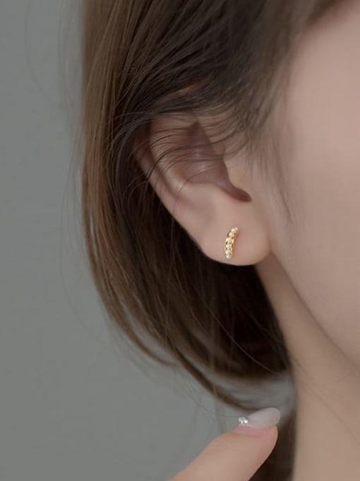 Rosh 925 Sterling Silver Imitation Pearl Geometric Minimalist Stud Earring 3