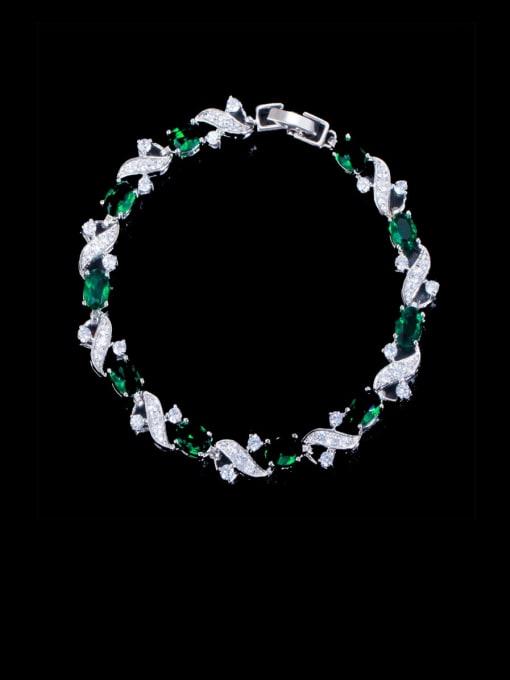 green Brass Cubic Zirconia Flower Luxury Bracelet