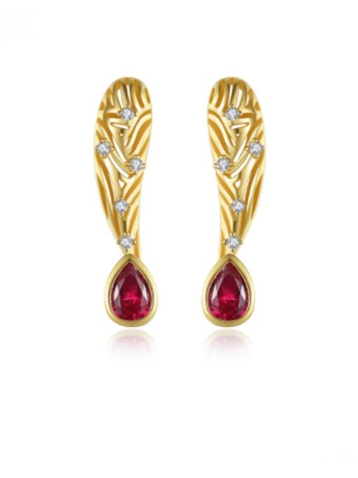 gold Brass Cubic Zirconia Leaf Vintage Stud Earring